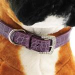 View Image 5 of Faux Crocodile Two Tiered Dog Collar with 18MM Letter Strap - Purple