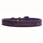 View Image 1 of Faux Crocodile Two Tiered Dog Collar with 10MM Letter Strap - Purple