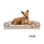 View Image 3 of FurHaven Faux Fleece & Chenille Soft Woven Orthopedic Sofa Dog Bed - Cream