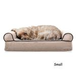 View Image 2 of FurHaven Faux Fleece & Chenille Soft Woven Orthopedic Sofa Dog Bed - Cream