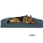 View Image 4 of FurHaven Faux Fleece & Chenille Soft Woven Orthopedic Sofa Dog Bed - Orion Blue
