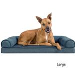 View Image 3 of FurHaven Faux Fleece & Chenille Soft Woven Orthopedic Sofa Dog Bed - Orion Blue