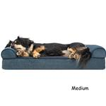View Image 2 of FurHaven Faux Fleece & Chenille Soft Woven Orthopedic Sofa Dog Bed - Orion Blue
