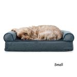 View Image 1 of FurHaven Faux Fleece & Chenille Soft Woven Orthopedic Sofa Dog Bed - Orion Blue