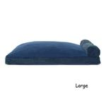 View Image 3 of FurHaven Faux Fleece & Corduroy Chaise Lounge Pillow Sofa-Style Dog Bed - Navy Blue