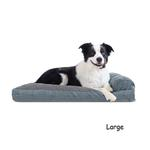 View Image 3 of FurHaven Quilted Fleece & Print Suede Lounge Pillow Sofa-Style Dog Bed - Titanium