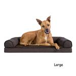 View Image 3 of FurHaven Faux Fleece & Chenille Soft Woven Orthopedic Sofa Dog Bed - Coffee
