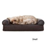 View Image 1 of FurHaven Faux Fleece & Chenille Soft Woven Orthopedic Sofa Dog Bed - Coffee
