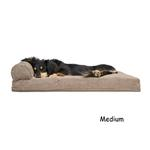 View Image 2 of FurHaven Faux Fleece & Corduroy Chaise Lounge Pillow Sofa-Style Dog Bed - Sandstone