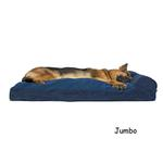 View Image 4 of FurHaven Faux Fleece & Corduroy Chaise Lounge Pillow Sofa-Style Dog Bed - Navy Blue