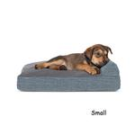 View Image 1 of FurHaven Quilted Fleece & Print Suede Lounge Pillow Sofa-Style Dog Bed - Titanium