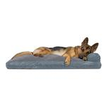 View Image 4 of FurHaven Quilted Fleece & Print Suede Lounge Pillow Sofa-Style Dog Bed - Titanium