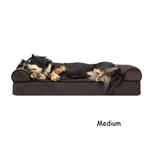 View Image 2 of FurHaven Faux Fleece & Chenille Soft Woven Orthopedic Sofa Dog Bed - Coffee