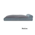 View Image 2 of FurHaven Quilted Fleece & Print Suede Lounge Pillow Sofa-Style Dog Bed - Titanium