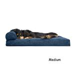 View Image 2 of FurHaven Faux Fleece & Corduroy Chaise Lounge Pillow Sofa-Style Dog Bed - Navy Blue