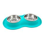 View Image 1 of FFD Pet Silicone Double Bowl Small Feeder for Dogs and Cats - Teal