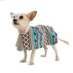 View Image 1 of Fleece Dog Poncho by Poocho - Aztec Teal