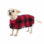 View Image 1 of Fleece Dog Poncho by Poocho - Red Plaid with Bow