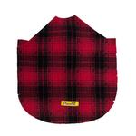View Image 3 of Fleece Dog Poncho by Poocho - Red Plaid with Bow
