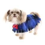 View Image 7 of Fleece Dog Poncho by Poocho - Blue Plaid with Bow