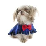 View Image 6 of Fleece Dog Poncho by Poocho - Blue Plaid with Bow