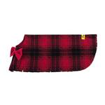 View Image 4 of Fleece Dog Poncho by Poocho - Red Plaid with Bow