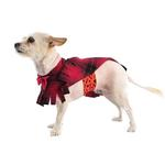 View Image 2 of Fleece Dog Poncho by Poocho - Red Plaid with Bow