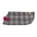 View Image 4 of Fleece Dog Poncho by Poocho - Grey Plaid with Bow