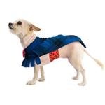 View Image 2 of Fleece Dog Poncho by Poocho - Blue Plaid with Bow