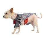 View Image 2 of Fleece Dog Poncho by Poocho - Grey Plaid with Bow