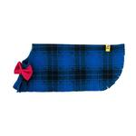 View Image 4 of Fleece Dog Poncho by Poocho - Blue Plaid with Bow