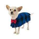 View Image 1 of Fleece Dog Poncho by Poocho - Blue Plaid with Bow