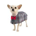 View Image 1 of Fleece Dog Poncho by Poocho - Grey Plaid with Bow