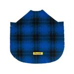 View Image 3 of Fleece Dog Poncho by Poocho - Blue Plaid with Bow