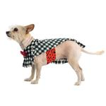 View Image 2 of Fleece Dog Poncho by Poocho - Houndstooth with Bow
