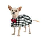 View Image 1 of Fleece Dog Poncho by Poocho - Houndstooth with Bow