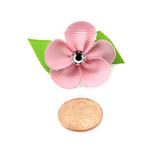 View Image 3 of Flower Dog Bow with Alligator Clip - Pearl Pink