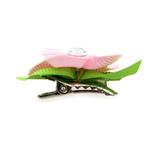 View Image 2 of Flower Dog Bow with Alligator Clip - Pearl Pink