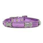 View Image 1 of Foxy Metallic Dog Collar with Crystal Bones by Cha-Cha Couture - Lilac