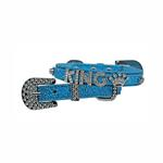 View Image 1 of Foxy Glitz Dog Collar With Letter Strap by Cha-Cha Couture - Blue