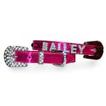 View Image 1 of Foxy Metallic Dog Collar With Letter Strap by Cha-Cha Couture - Hot Pink