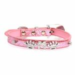 View Image 1 of Foxy Glitz Dog Collar with Letter Strap by Cha-Cha Couture - Pink