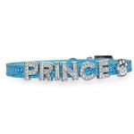 View Image 1 of Foxy Glitz Slide Dog Collar by Cha-Cha Couture - Blue