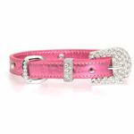 View Image 2 of Foxy Metallic Jewel Dog Collar by Cha-Cha Couture - Pink