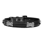 View Image 1 of Foxy Metallic Dog Collar with Crystal Bones by Cha-Cha Couture - Black