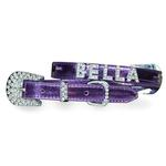 View Image 1 of Foxy Metallic Dog Collar with Letter Strap by Cha-Cha Couture - Lilac