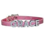 View Image 3 of Foxy Metallic Slide Dog Collar - Pink