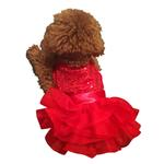 View Image 2 of Fufu Tutu Picture Perfect Sequin Dog Dress - Red