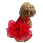 View Image 1 of Fufu Tutu Picture Perfect Sequin Dog Dress - Red