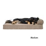 View Image 1 of FurHaven Faux Fleece & Corduroy Chaise Lounge Orthopedic Sofa Dog Bed - Sandstone